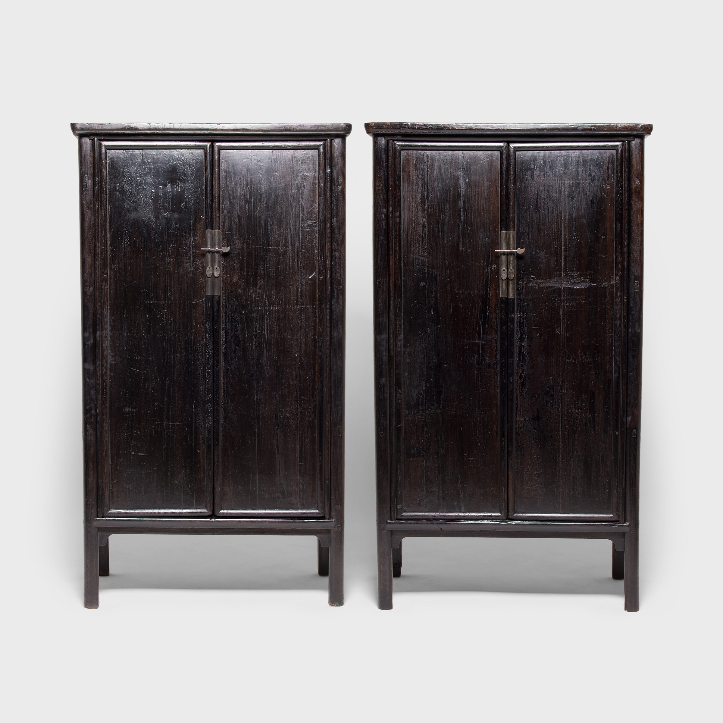 Pair Of Black Lacquer Noodle Cabinets