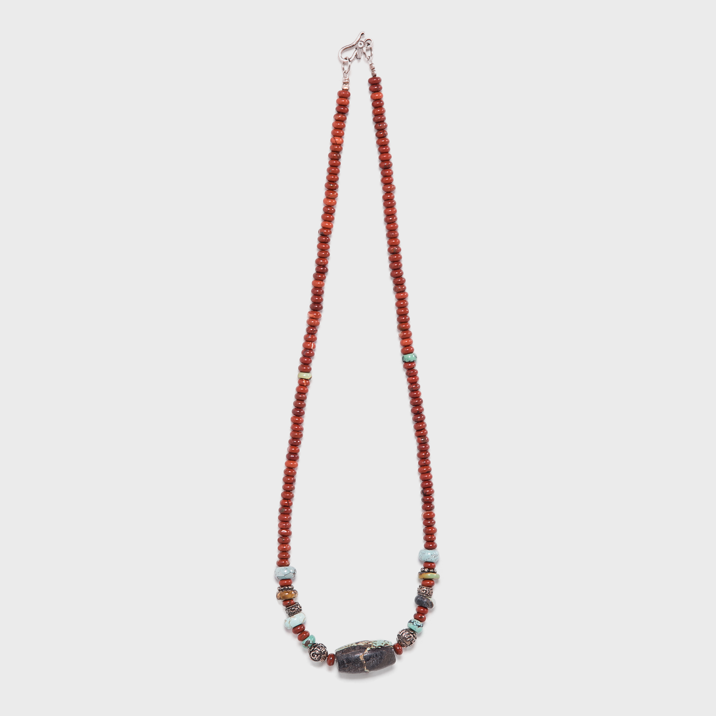 Carnelian and Turquoise Necklace with Tibetan Silver Beads