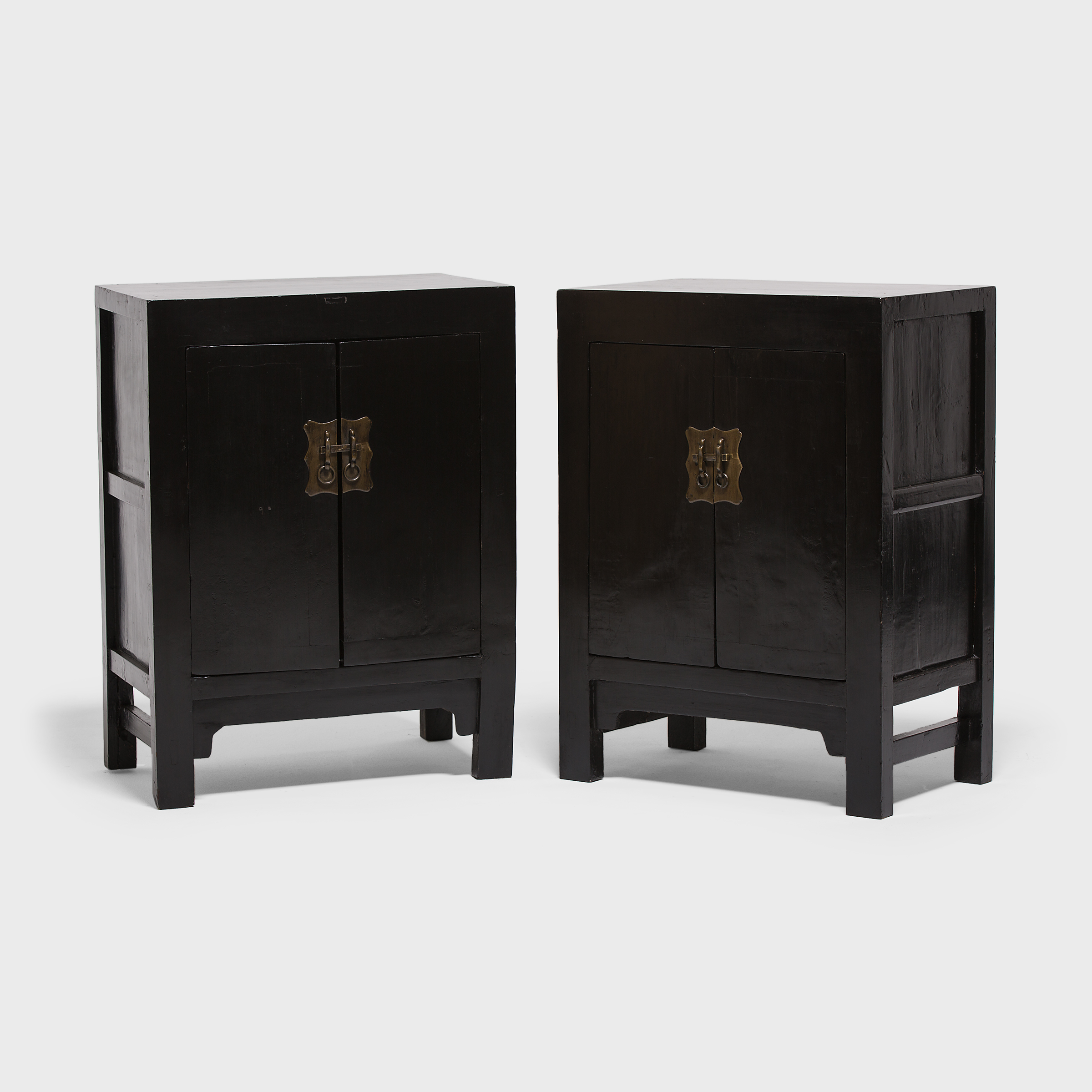 Pair Of Black Lacquer Locking Cabinets